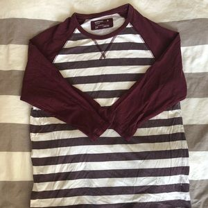 Burgundy 3/4 Sleeve Baseball Tee